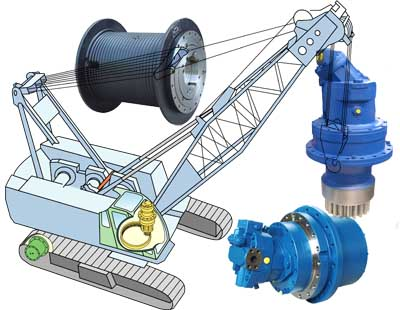 Crawler Cranes, GFT-W Winch Drives, GFB Swing Drives, GFT Travel Drives